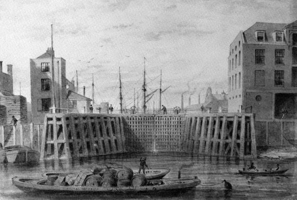 Entrance to the Limehouse Dock, 1850