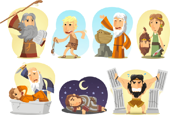 Bible Heroes Samson Noah Moses Judith David Joseph Abraham | World Religions: Judaism