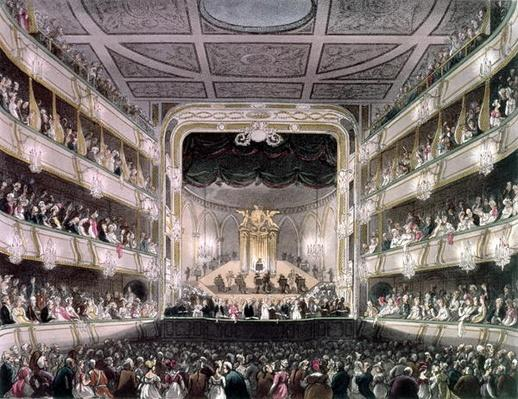 Covent Garden Theatre, 1808, from 'Ackermann's Microcosm of London' engraved by J. Bluck