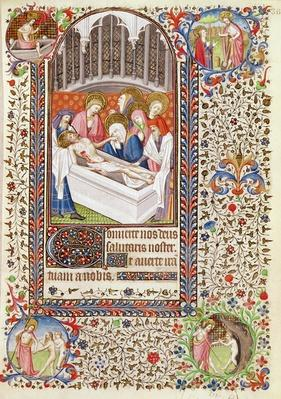 Ms 547 fol.36 Entombment of Christ, from a Book of Hours used by a woman from Poitiers