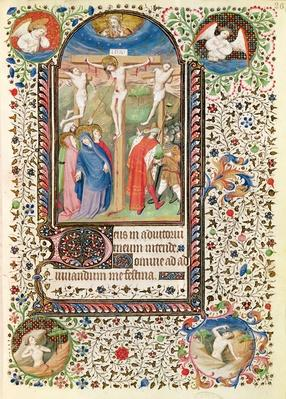 Ms 547 fol.26 Crucifixion, from a Book of Hours used by a woman from Poitiers