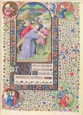 Ms 547 fol.16 Stations of the Cross, from a Book of Hours used by a woman from Poitiers