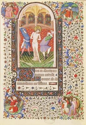 Ms 547 fol.13 Flagellation, from a Book of Hours used by a woman from Poitiers