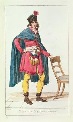 Civilian costume for a French citizen, engraved by Vivant Dominique Denon