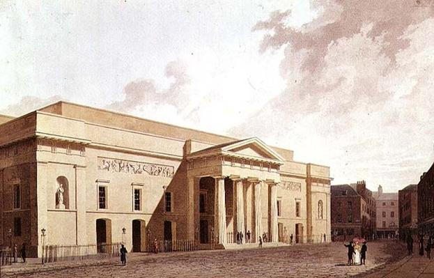 East Front of the 2nd Covent Garden Theatre, designed by Robert Smirke and showing Flaxman panels, 1809