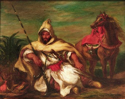Moroccan soldier sitting near his horse, 1845