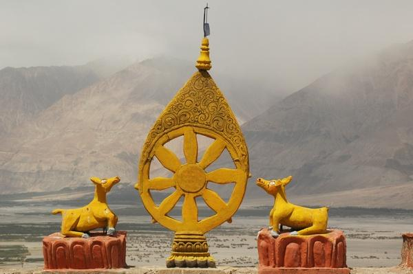 Buddhist monastery - dharma wheel, Ladakh, India | World Religions: Buddhism