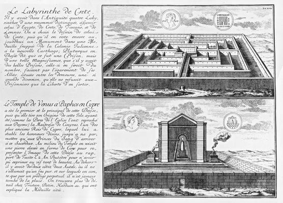 The Labyrinth of Crete and The Temple of Venus at Paphos in Cyprus, from 'A plan of Civil and Historical Architecture', 1721