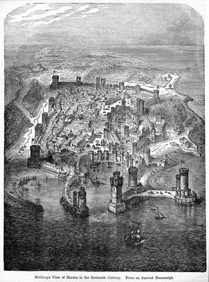 Bird's-eye View of Rhodes in the Sixteenth Century