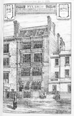 Design for Studios at Bedford Gardens, Campden Hill, London, from 'The Building News', May 4 1883