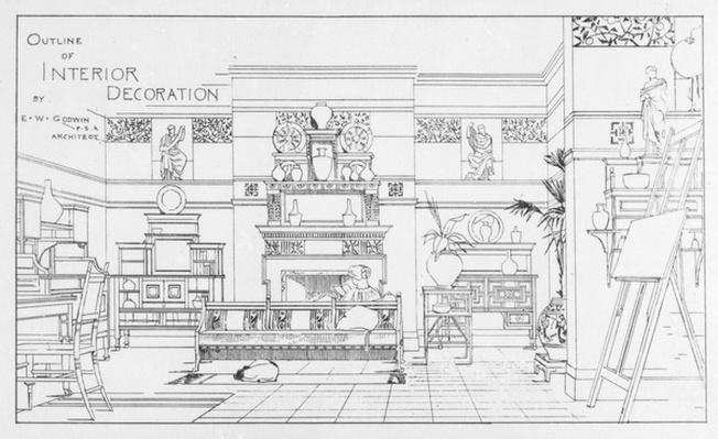 Outline of Interior Decoration, design by E. W. Godwin, illustration from 'The British Architect', July 1 1881