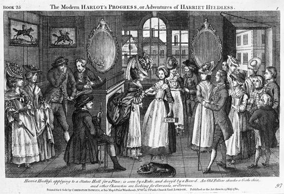 Plate 1 from 'The Modern Harlot's Progress, or Adventures of Harriet Heedless', published 1780