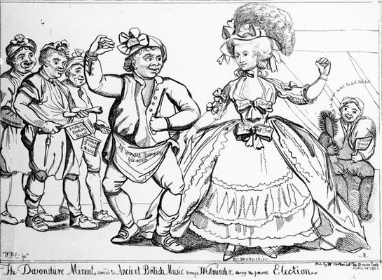 The Devonshire Minuet, danced to Ancient British Music through Westminster during the Election, print made by William Paulet Carey, 1784