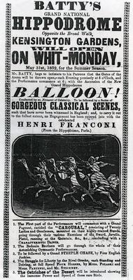 Poster advertising 'Batty's Grand National Hippodrome', 1852