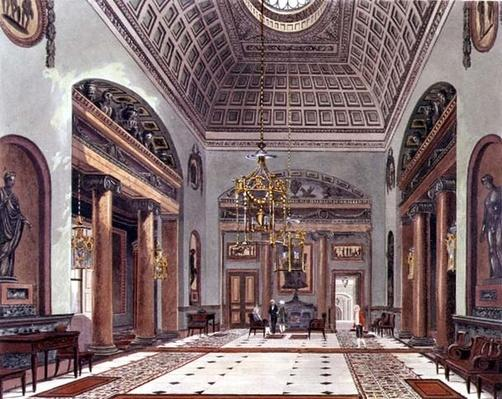 The Hall of Entrance, Carlton House from Pyne's 'Royal Residences', 1818