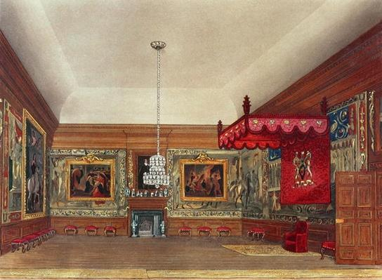 The Throne Room, Hampton Court from Pyne's 'Royal Residences', 1818