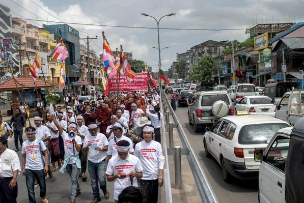 Buddhist Monks Of Myanmar March To Oppose Returning Rohingya Boat Migrants   Conflicts: Burma