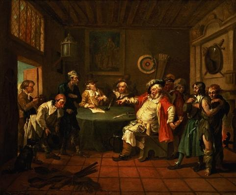 Falstaff Examining his Recruits from Henry IV by Shakespeare, 1730