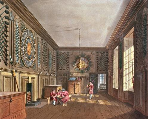 The Guard Chamber, St. James' Palace from Pyne's 'Royal Residences', 1818