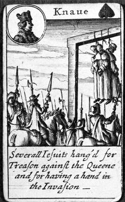 Several Jesuits hanged for Treason, Knave of Spades from a pack of playing cards