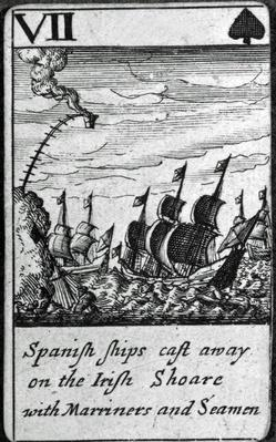 Spanish Ships Cast Away. VII of Spades from a pack of playing cards