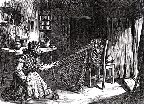 Sketches from Ireland : Woman making nets in the Claddagh, Galway, illustration from 'The Illustrated London News', 1870