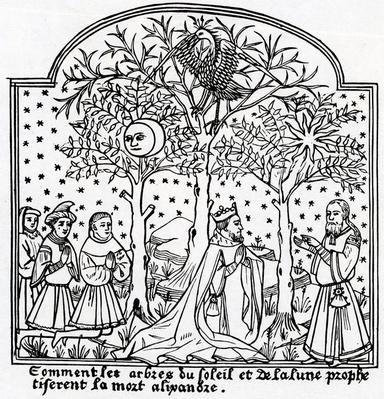 Copy of illustration of the Oracular trees of the Sun and the Moon from 'Livre de Merveilles du Monde' by Rustichello da Pisa and Marco Polo