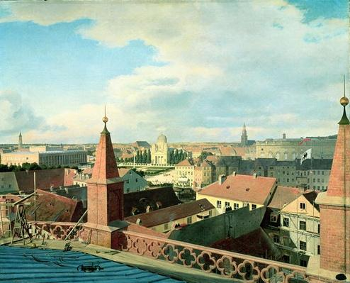 View of the city of Berlin with Altes Museum and Cathedrale from the roof of the Church of Friedrichswerder, 1834-35