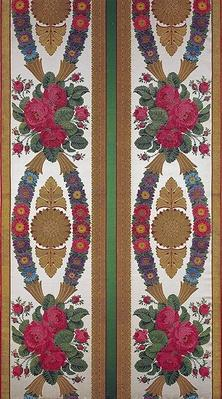 Textile with garlands of daisies and bouquets of roses by Cousin and Bony, Bissardon, Lyon, 1811
