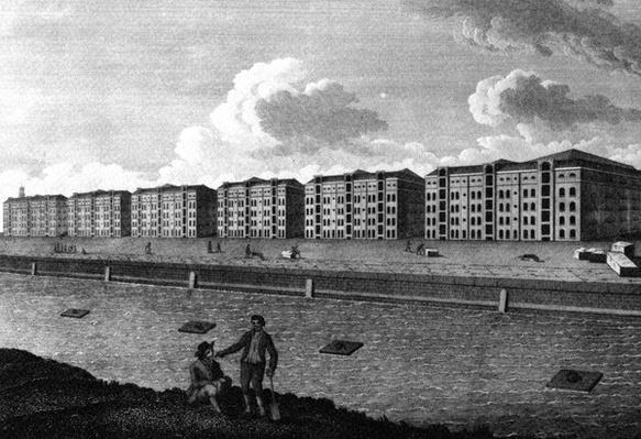 A View of the Warehouses and West-India Dock, 1803