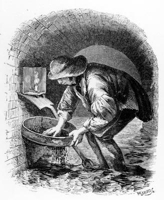 The Sewer-hunter, illustration from 'London Labour and the London Poor' by Henry Mayhew, c.1840s