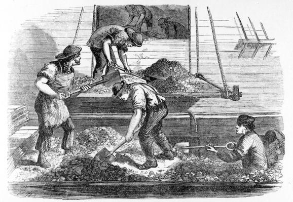 Ballast-heavers at work in the Pool, illustration from 'London Labour and the London Poor' by Henry Mayhew, c.1840s
