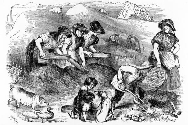 View of a Dust-yard, illustration from 'London Labour and the London Poor' by Henry Mayhew, c.1840s