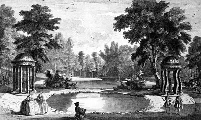 A View of the Grotto and two shell temples, Stowe House Gardens, engraved by George Bickham, 1753
