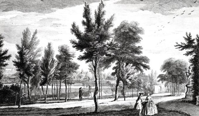 A View of the Elysian Fields from the Spring of Helicon, Stowe House Gardens, engraved by George Bickham, 1753
