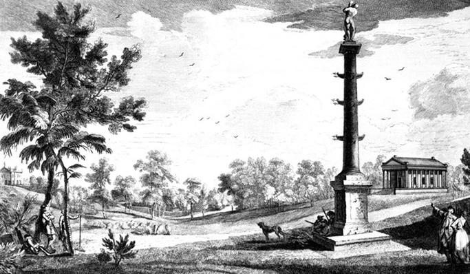A View from Capt. Grenville's Monument to the Grecian Temple, Stowe House Gardens, engraved by George Bickham, 1753
