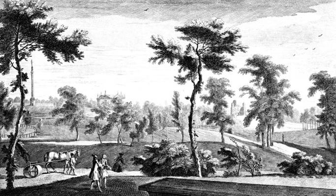 A View from the Grecian Temple to Lord Cobham's Pillar, Stowe House Gardens, engraved by George Bickham, 1753