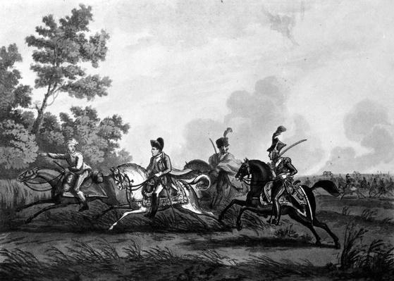 Flight of Bonaparte from the Field of Waterloo accompanied by his Guide, 1816