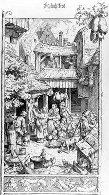 German Schlachtfest, engraved by Adrian Ludwig Richter, 1861
