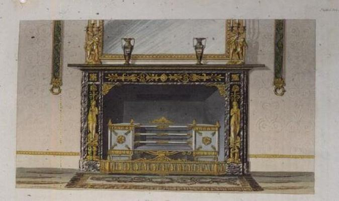 A Fire Place, plate 183 from Ackermann's 'Repository of Arts', published 1828