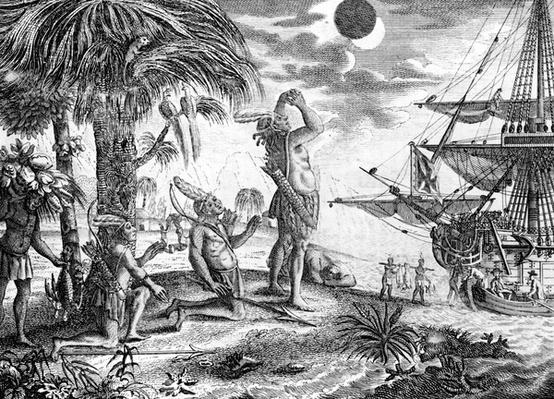 The Indians astonished at the eclipse of the moon foretold by Columbus