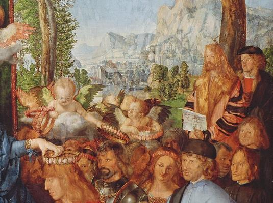 Detail of 'The Feast of the Rosary' showing D�rer's self portrait with beard and long blond hair in a fur coat standing in front of a tree and holding a scroll in his hand, 1506