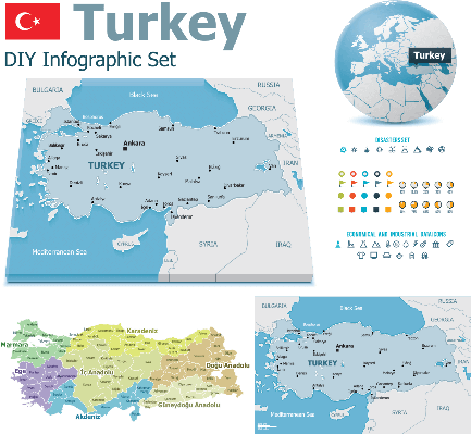 Turkey maps with markers | Conflicts: Syria