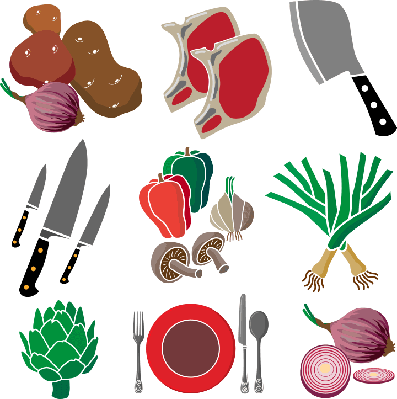 pork chop dinner icon set | Health and Nutrition