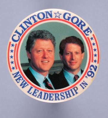 Presidential Campaign Button for Democratic Candidates Bill Clinton and Al Gore | U.S. Presidential Elections: 1992
