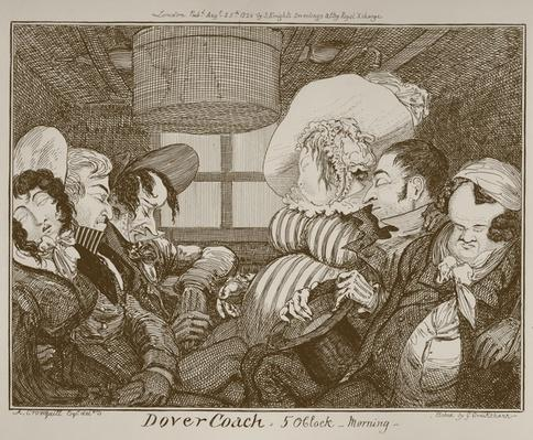 Dover Coach, 5 o'clock morning, etched by George Cruikshank, 1826