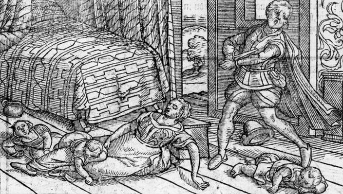 The Death of Mackdonwald, illustration from 'Holinshed's Chronicles', 1577