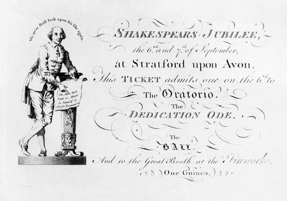 A ticket for the Shakespeare Jubilee celebrations, 1769