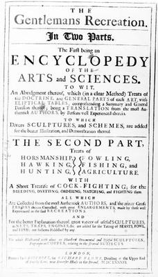Titlepage to 'The Gentleman's Recreation' published by Richard Blome, 1686