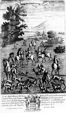 Showing ye Bucke head to the hounds and rewarding them, from 'The Gentleman's Recreation' published by Richard Blome, 1686